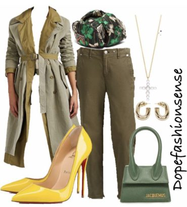 Outfit of the day ! // olive with a dash of yellow.