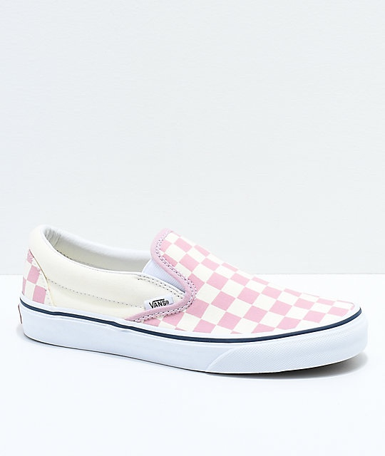 Pink checkers slip on Vans