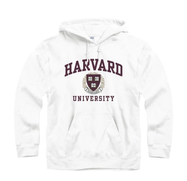 Dope Fashion Sense. Girl standing. harvard sweatshirt. white sweatshirt