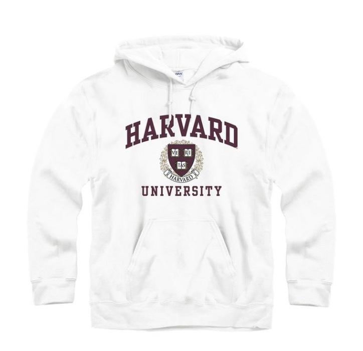 Dope Fashion Sense. Girl standing. harvard sweatshirt. white sweatshirt