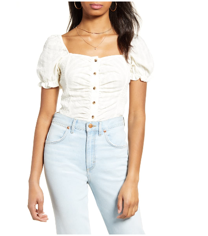 dopefashionsense. dope fashion sense. ruched top. white top. puff sleeve top