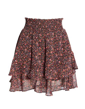 floral ruffled mini skirt. dopefashionsense. dope fashion sense. miniskirt. ruffled skirt.