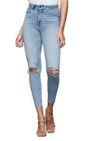 dope fashion sense. dopefashionsense. blue skinny jeans. good american jeans. ripped skinny jeans. high waist jeans