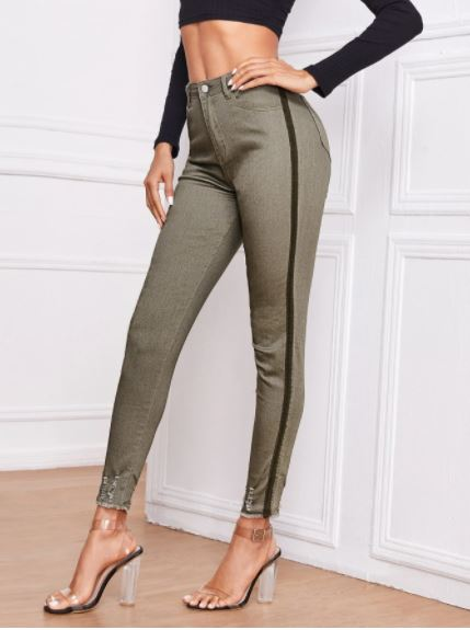 Ripped Raw hem striped side skinny jeans for the fall season and fall outfits from dopefashionsense.com