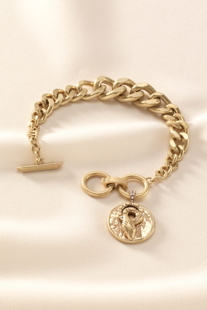 Heritage gold coin bracelet for the fall season and fall outfit from dopefashionsense.com
