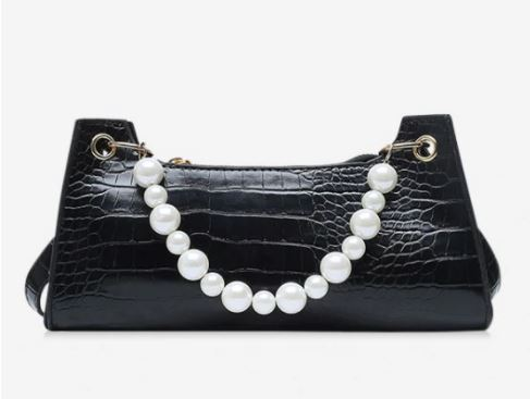 mini black faux pearl animal embossed underarm shoulder bag in black for the fall season and fall outfits.