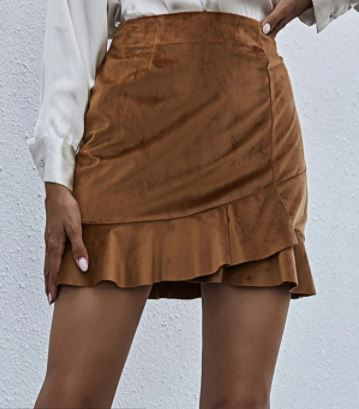 Asymmetrical ruffle hem solid skirt for the fall season and fall outfits from dopefashionsense.com