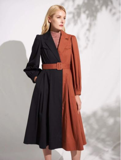 Shein ECO cotton blend color block belted trench coat for the fall season and fall outfits from dopefashionsense.com