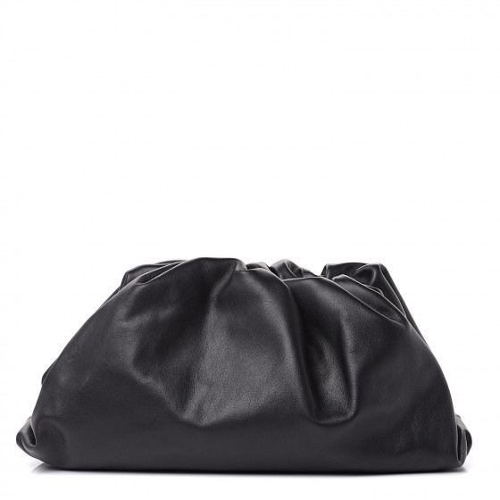 Bottega Veneta Smooth Butter Calf The Pouch Oversized Clutch in Black for the fall season and fall outfits.