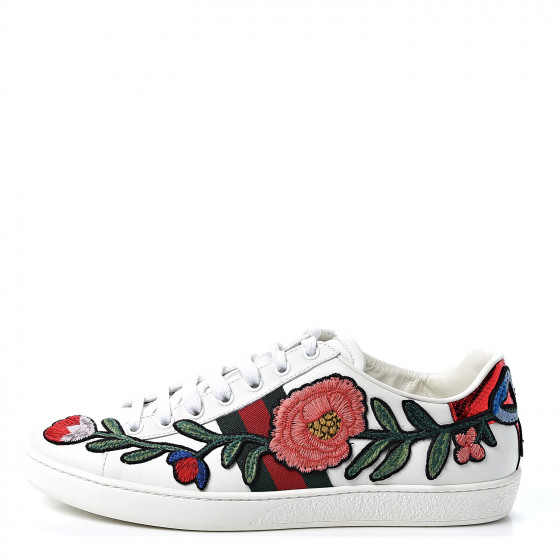 Gucci Calfskin web floral embroidered womens ace sneakers 39 in white for the fall season and fall outfits from dopefashionsense.com