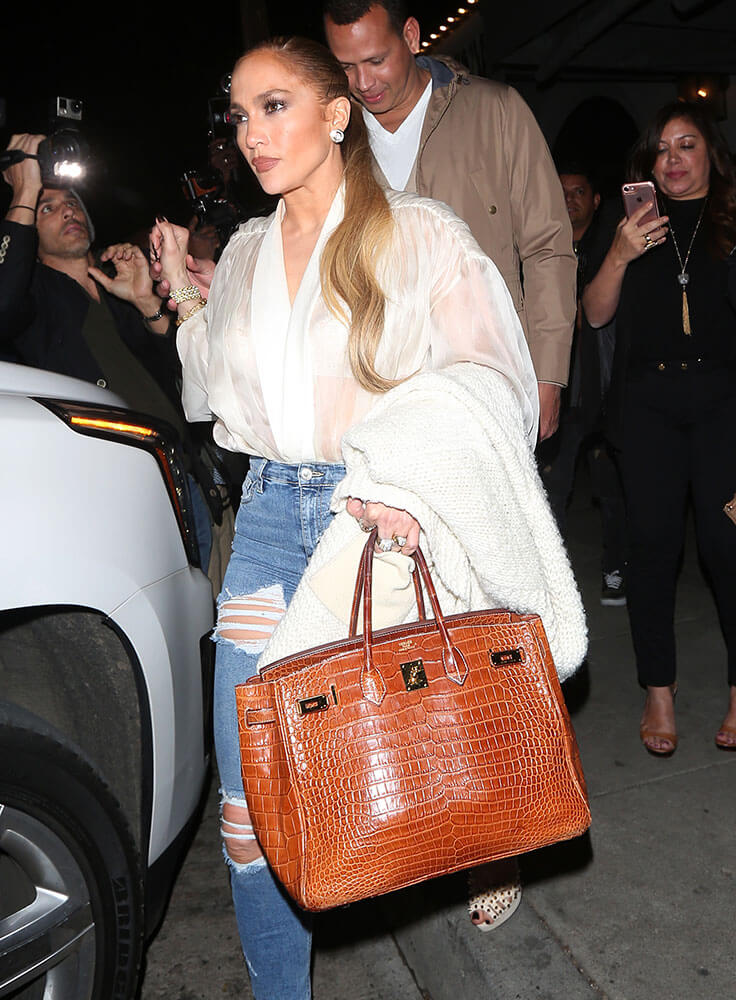 Jennifer Lopez wearing a Hermes Birkin Bag