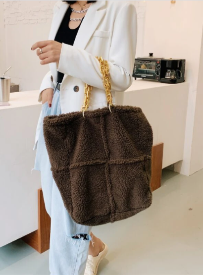 Shein - Faux Shearling Chain Tote Bag With Purse