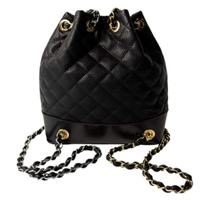 a black quilted backpack for women from Amazon. a chanel dupe backpack, a designer handbag dupe.