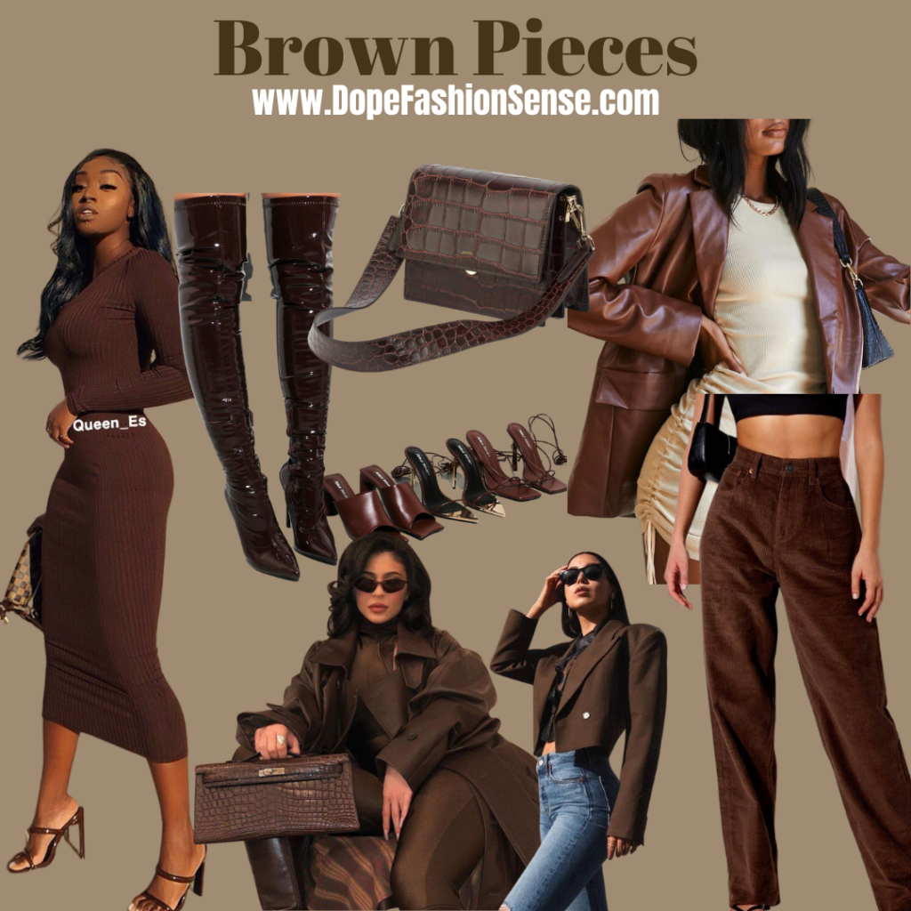 Brown clothing aesthetic on different women. a black girl standing with heels on. kylie Jenner style while sitting in her home with glasses on. a girl with her hand on her hip. a brown handbag. brown boots and heels. a girl with brown corduroy pants on.