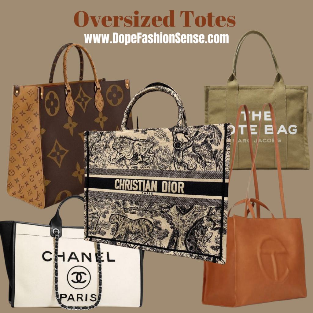 a louis Vuitton tote bag.  a Christian Dior tote bag.  a marc Jacobs the tote bag. a Chanel tote bag. a brown Telfar shopping bag