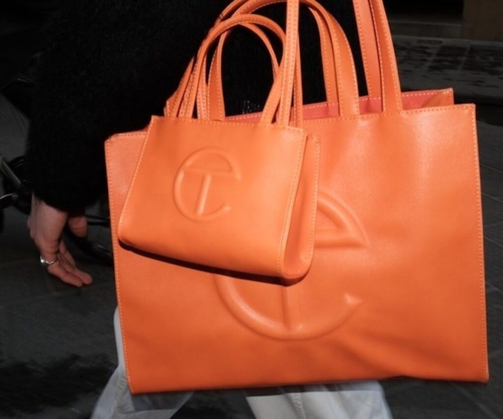 Orange large tote bag. Telfar mini shopping bag. Telfar medium shopping bag. Black owned handbags. Black owned fashion brands