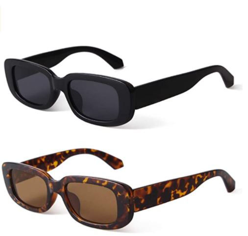 black rectangle sunglasses for the winter season and summer season. some brown rectangle sunglasses for women. winter season sunglasses for women. black sunglasses for women