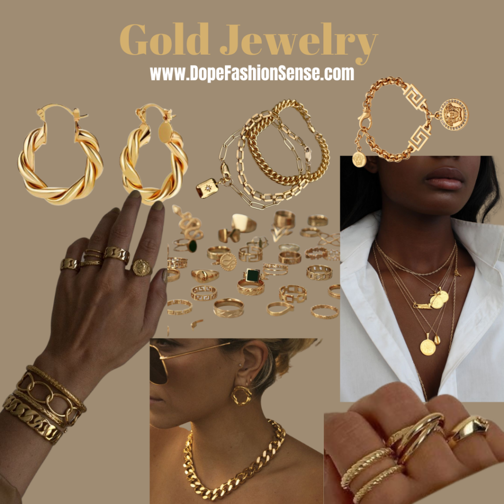 gold earrings from amazon. new fashion trend is gold accessories and jewelry. Versace dupe gold bracelet for cheap. a girls hand with gold rings and gold bracelets. A girl with sunglasses on and gold earrings and a gold necklace. a girls neck with gold layered necklaces.