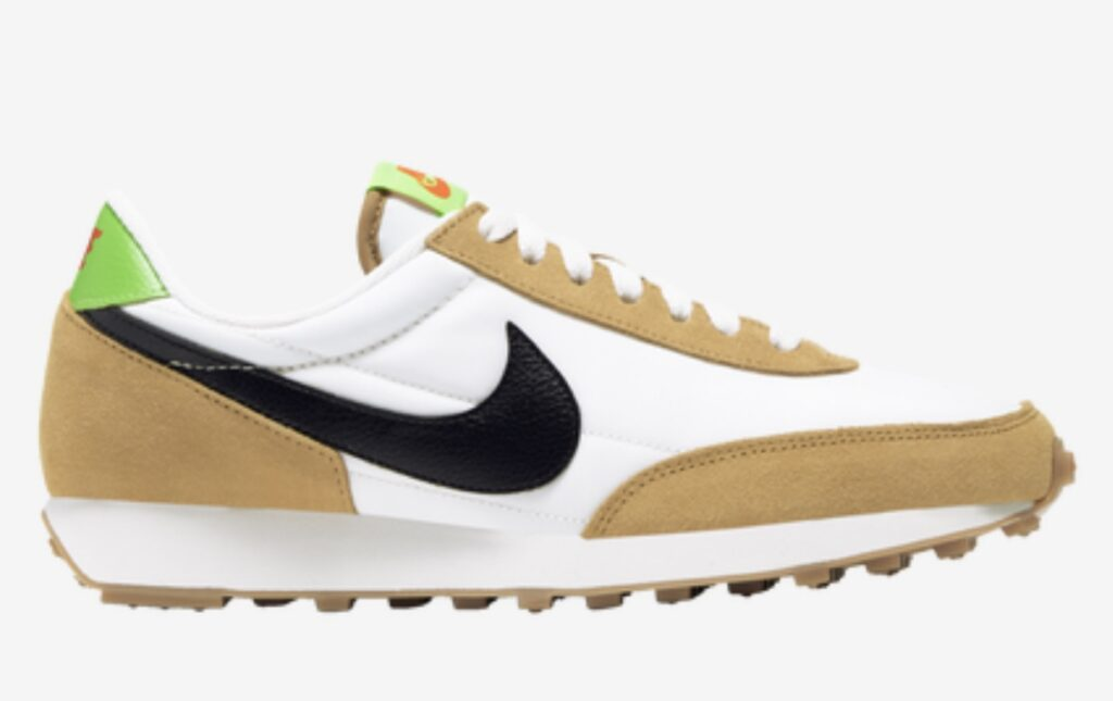 "Maximize your modern style in the Nike DBreak-Type. Suede and mesh form a unique upper that lets your favorite socks shine though, while supportive plastic pieces at the heel and toe add pops of color. The signature rubber waffle outsole adds durability and grip, and ""N354"" stitching on the heel and tongue label completes the look."