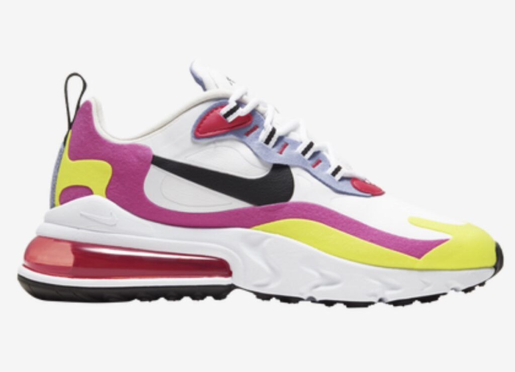 Stepping into a pair of Nike Air Max 270 React sneakers elicits immediate comfort that can last for hours on end. This eye-catching piece of footwear is as stylish as it is performance driven. Key features include flexibility, plush cushioning, a sleek yet dynamic design, and enough colorways to brighten the world. The beauty of this cool Nike shoe is that it's lightweight, yet tough enough to withstand anything from errand runs to actual runs.