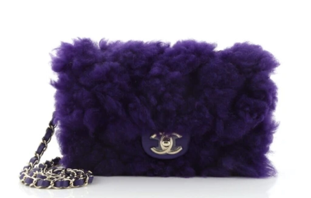 Chanel CC Chain Flap Bag Quilted Shearling with Lambskin Small. purple fluffy chanel handbag