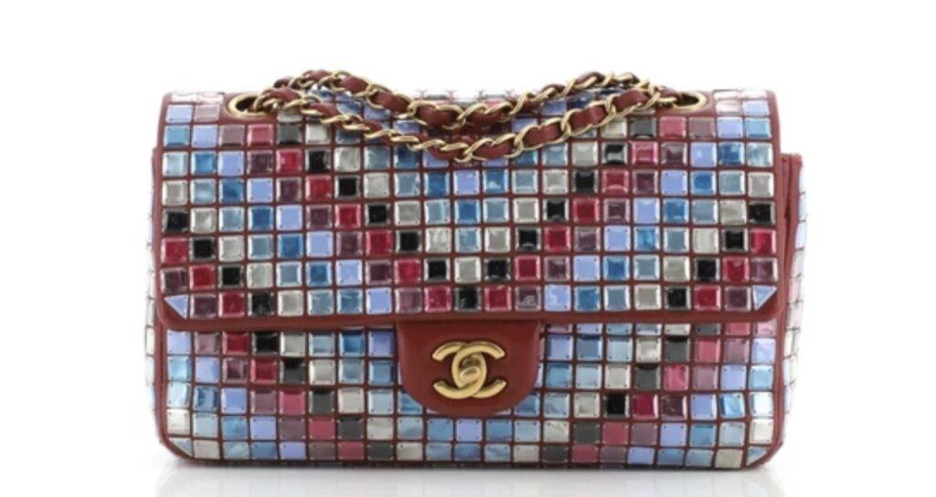 Chanel Mosaic Flap Bag Embellished Lambskin Medium. Rare Chanel Handbag. rare vintage chanel handbag.