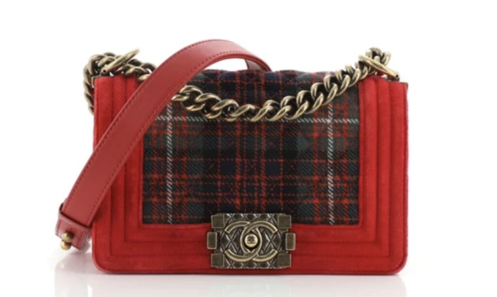 Chanel Paris-Edinburgh Boy Flap Bag Quilted Tweed with Velvet Small