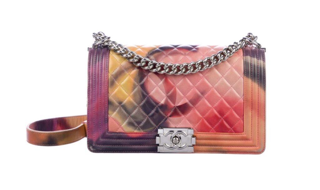 a tie dye chanel handbag. a rare chanel handbag. a luxury fashion handbag