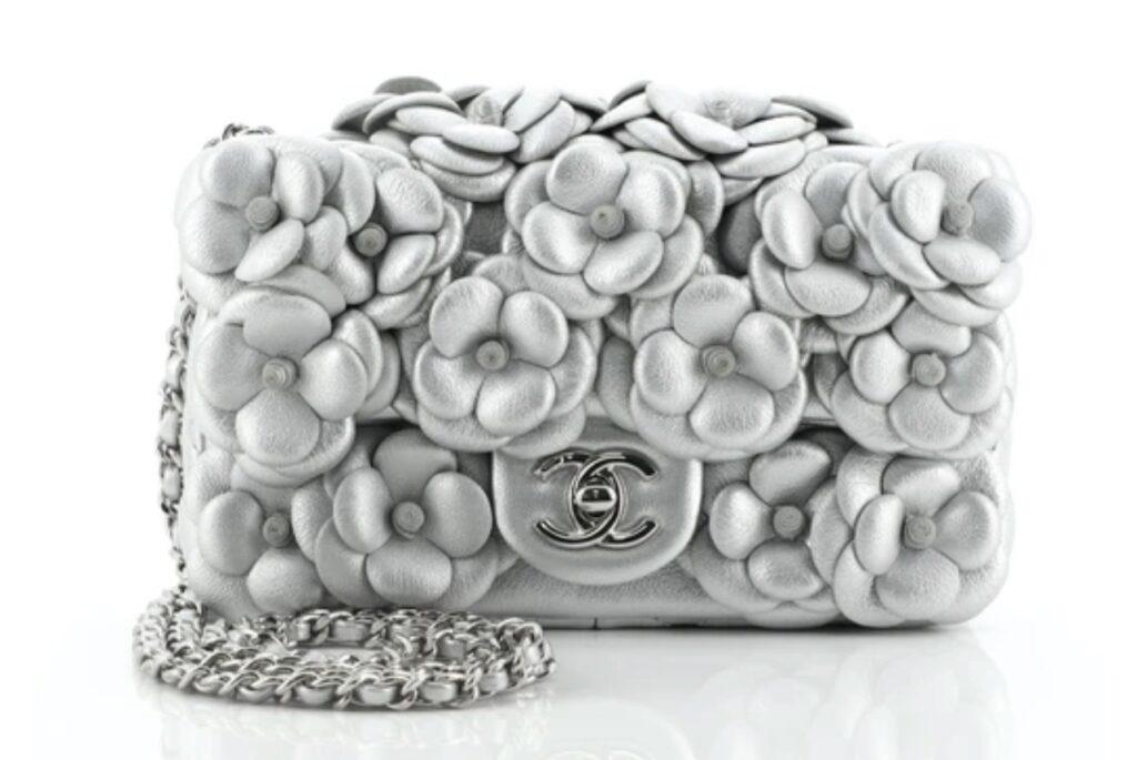 Chanel CC Camellia Flap Bag Embellished Lambskin Mini. rare Chanel handbag. vintage Chanel handbag