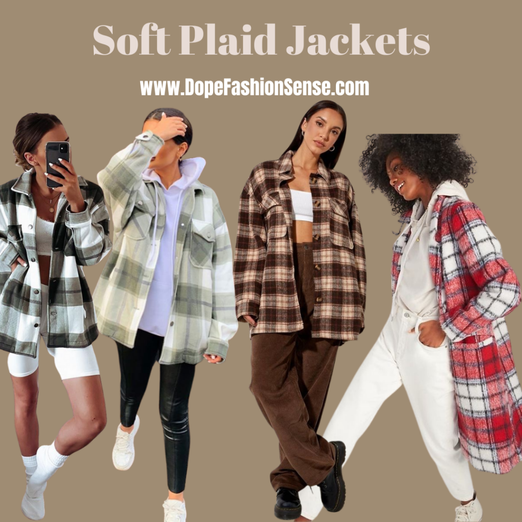 a girl taking a mirror selfie with a soft plaid jacket. a girl taking a off guard photo in a soft plaid jacket and black leather pants. a girl standing with her legs crossed in brown pants and a brown soft plaid jacket. a girl with an afro walking with an all white outfit with a soft plaid jacket.